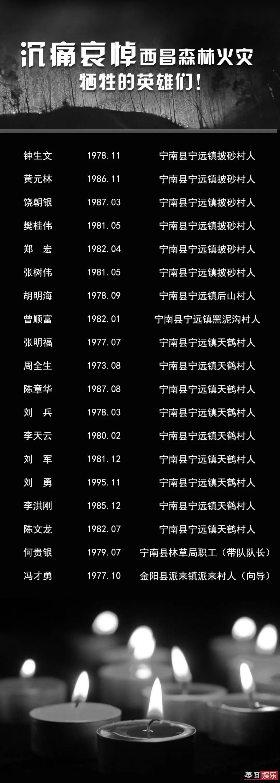 西昌森林火灾牺牲英雄名单公布 他们生前经历了什么?